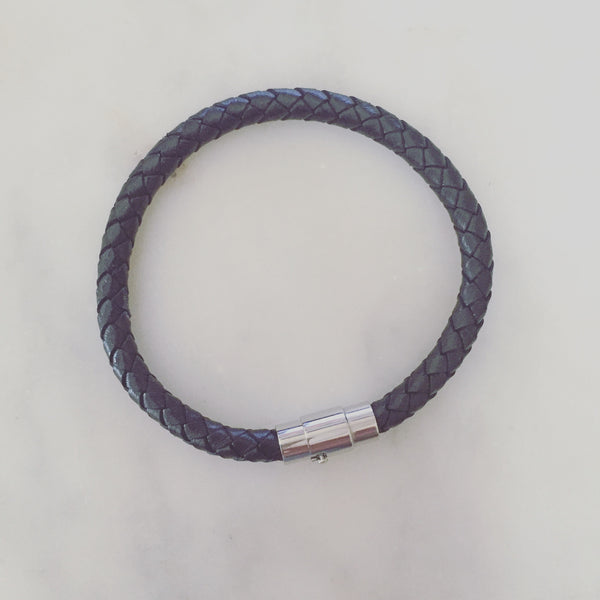 BRAIDED LEATHER BRACELET BLACK - Purple Lily