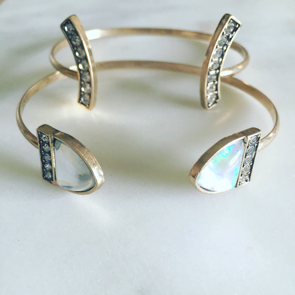 OPAL BEZEL CUFF SET - Purple Lily