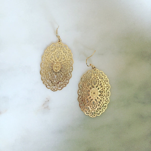 GOLD FILIGREE EARRINGS - Purple Lily