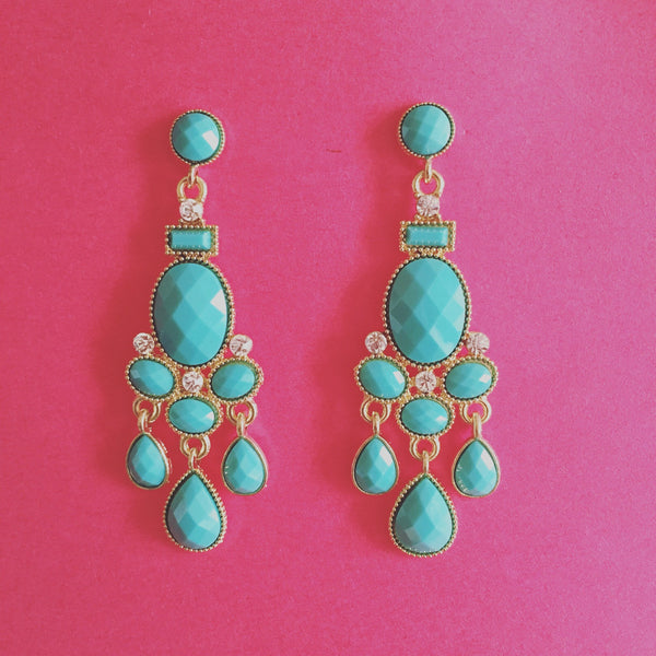 TURQUOISE CHANDELIER EARRINGS - Purple Lily