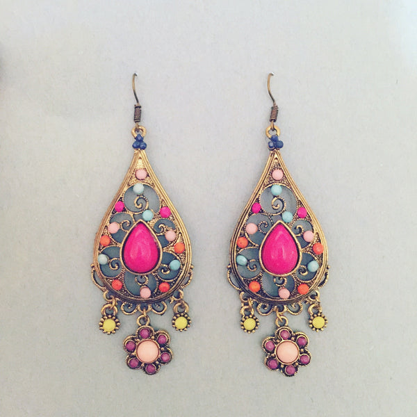 MULTICOLOUR BOHEMIAN EARRINGS - Purple Lily