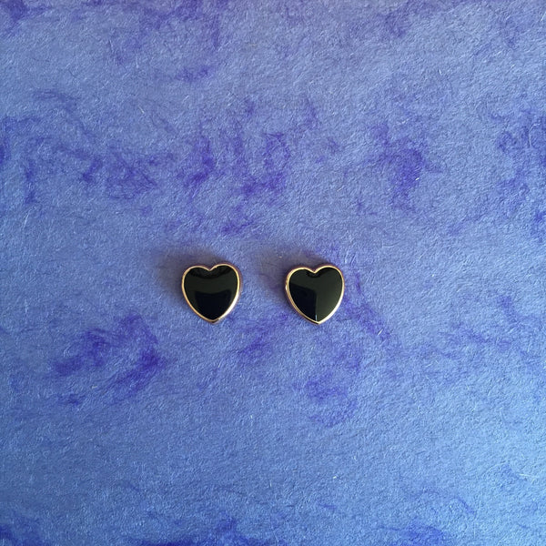 BLACK ENAMEL HEART STUDS - Purple Lily