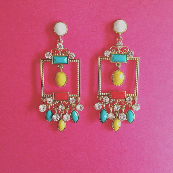 MULTICOLOR RECTANGLE CHANDELIER EARRINGS - Purple Lily