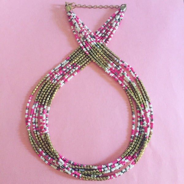 MULTICOLOUR LAYERED BEAD NECKLACE - Purple Lily