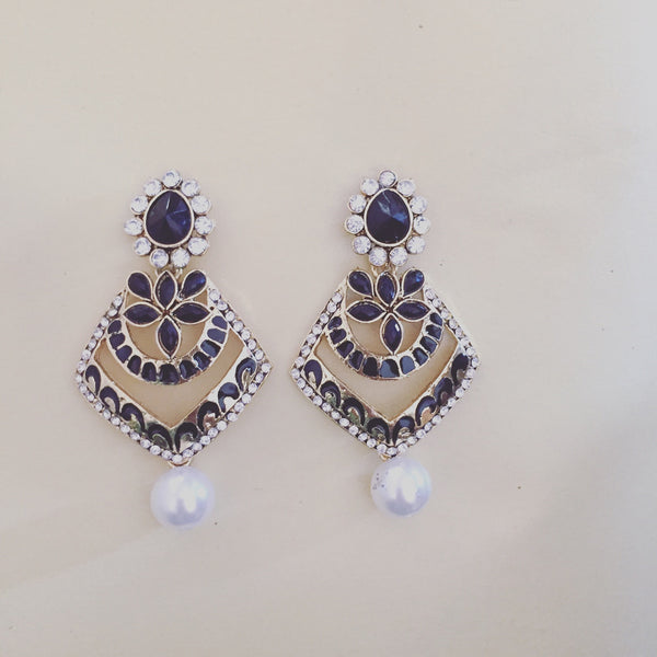 BLACK ENAMEL PAVE EARRINGS - Purple Lily