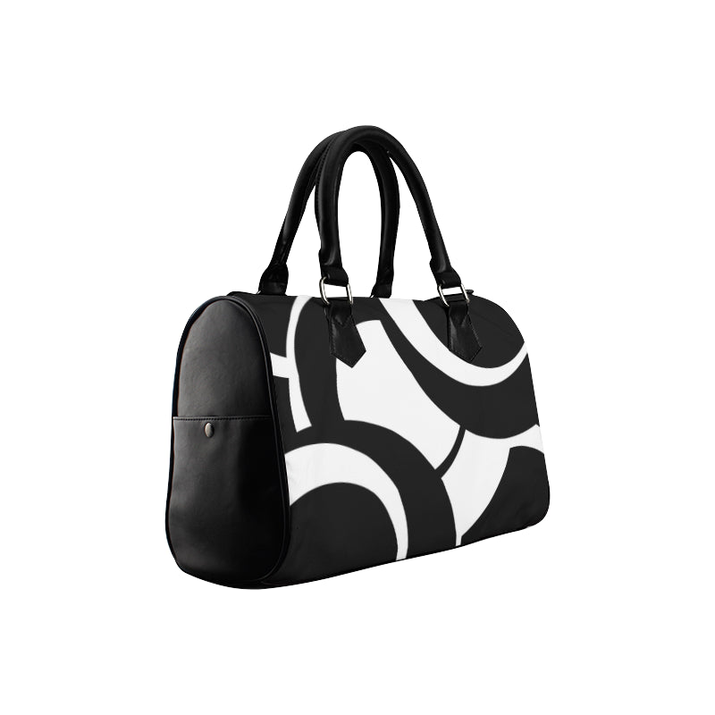 black white Boston handbag