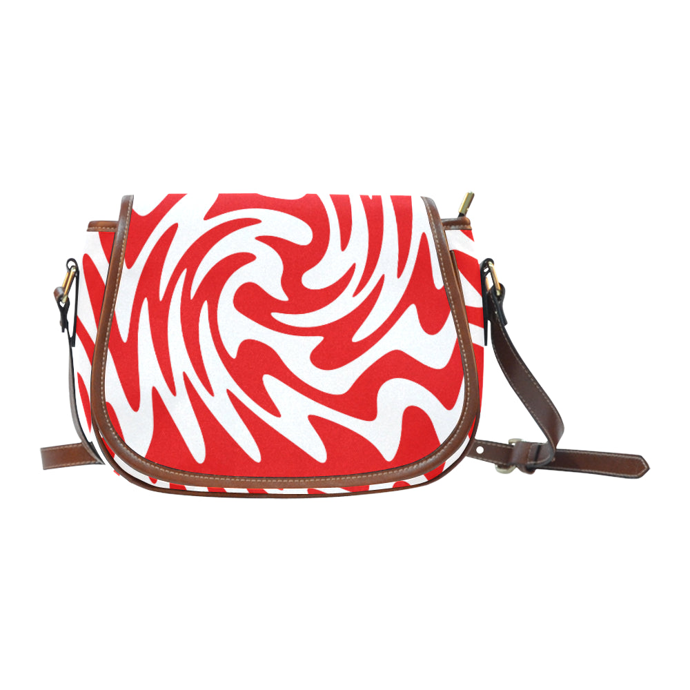 Red White Saddle Bag/Small (Model 1649) Full Customization