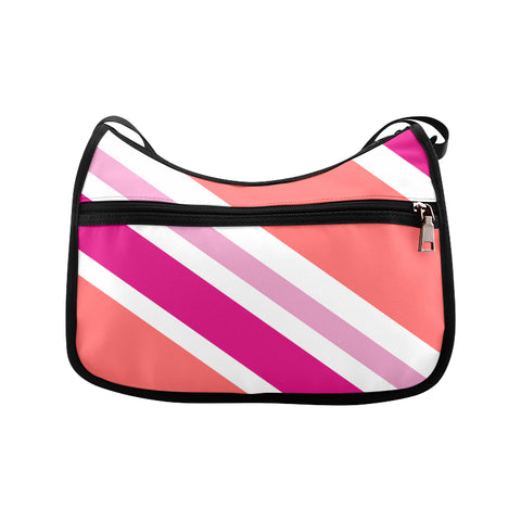 Peach Pink White Crossbody Bags (Model 1616)