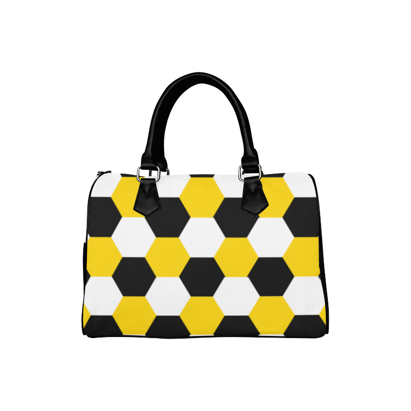 Honeycomb black white yellow boston handbag