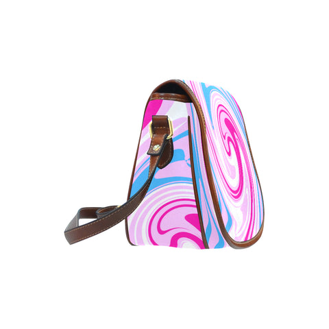 pink blue saddle bag