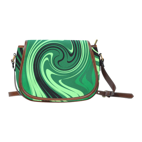 Green Saddle Bag/Small (Model 1649) Full Customization