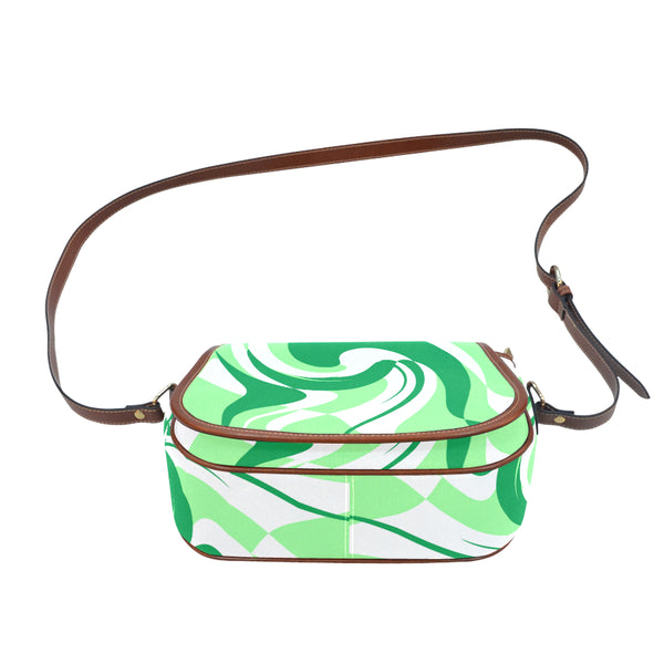 Green White Saddle Bag/Small (Model 1649) Full Customization