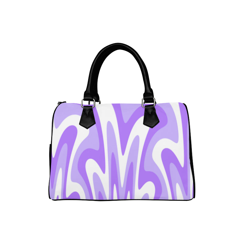 purple white boston handbag