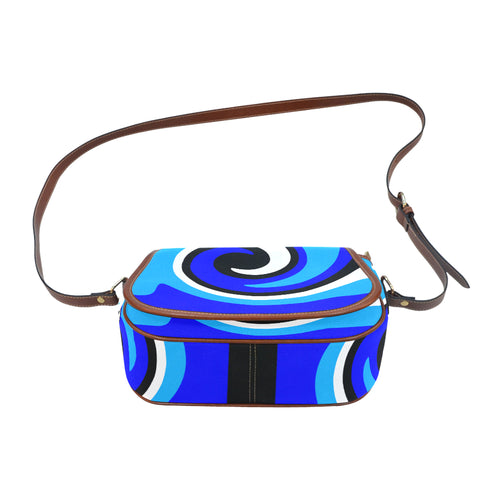 Blue black white saddle bag