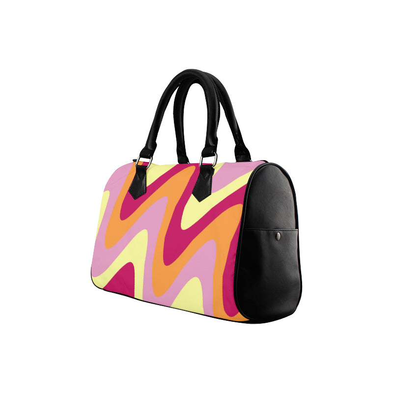 Yellow pink crimson black boston handbag