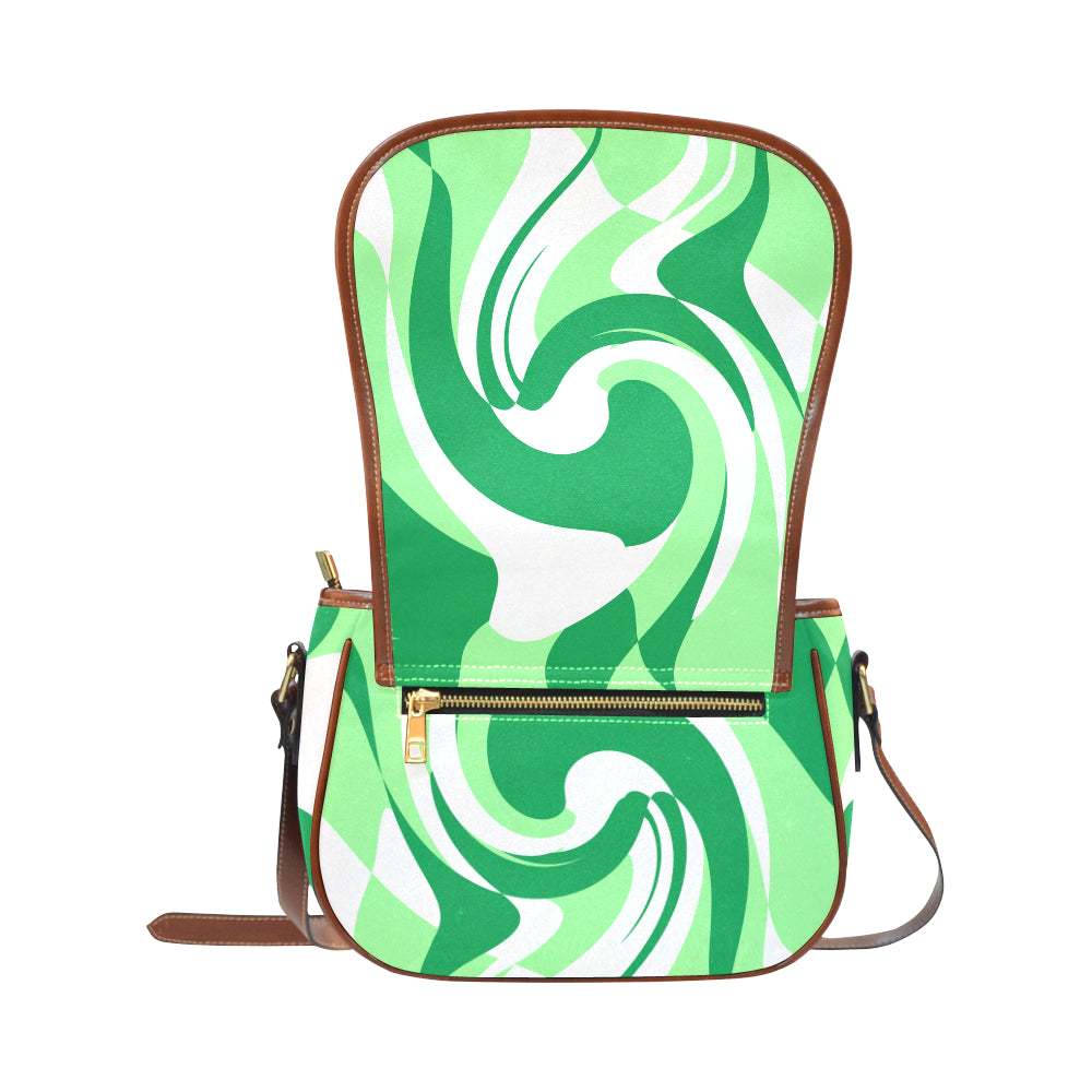 green white saddle bag