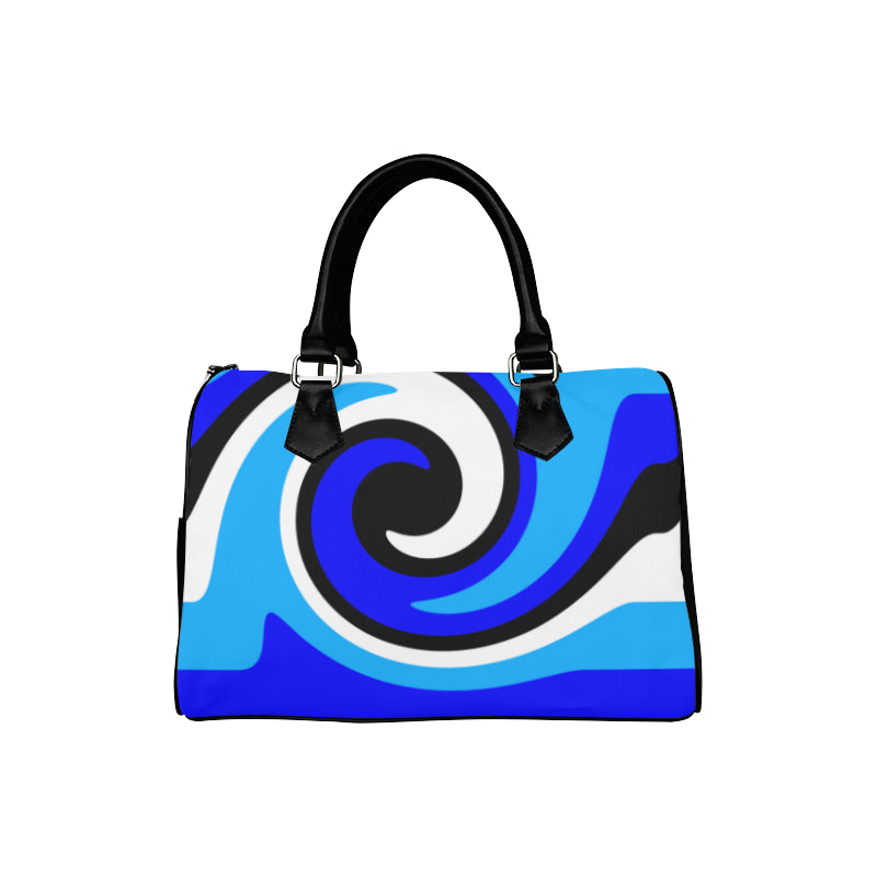 Lilia Black White Blue Boston Handbag (Model 1621)