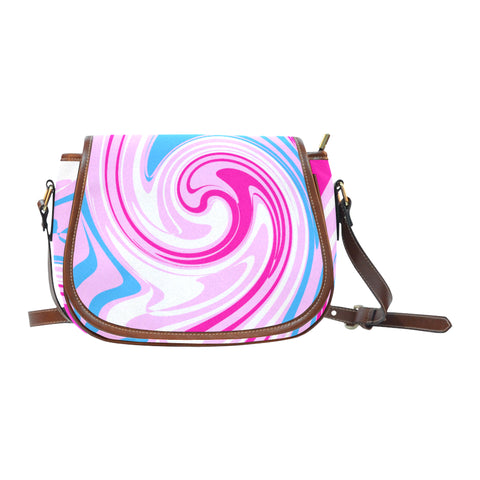Pink Blue White Saddle Bag/Small (Model 1649) Full Customization
