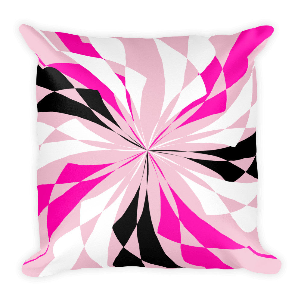 Pastel Black White Pink Square Pillow