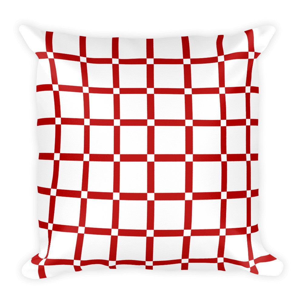 red white accent pillow