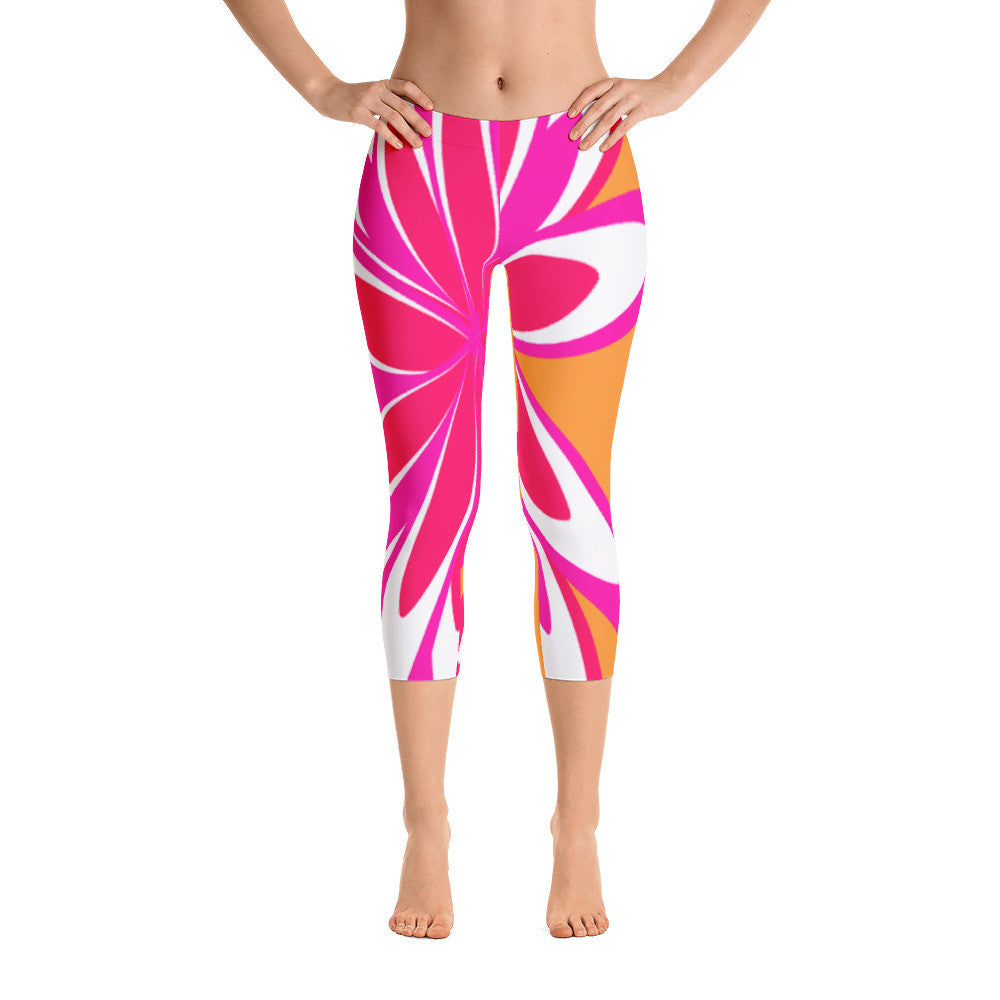 Fleur Orange Pink Capri Leggings