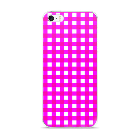 Pink White Gingham Design iPhone 5/5s/Se, 6/6s, 6/6s Plus Case