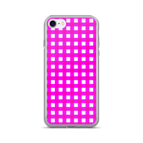 Pink White Gingham Design iPhone 7/7 Plus Case