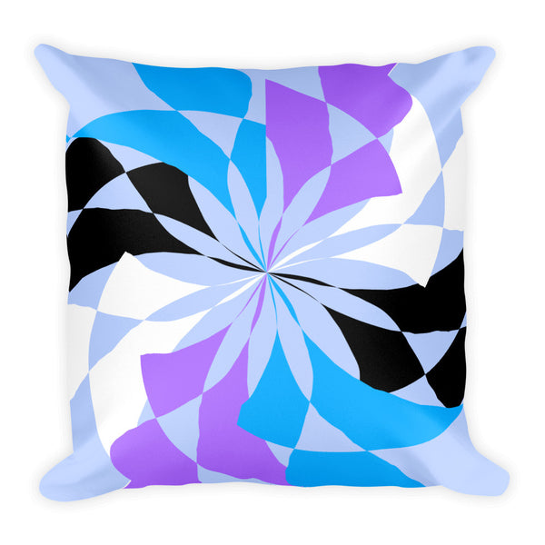 Pastel Black White Blue Purple Square Pillow