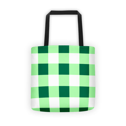Green White Gingham Tote bag