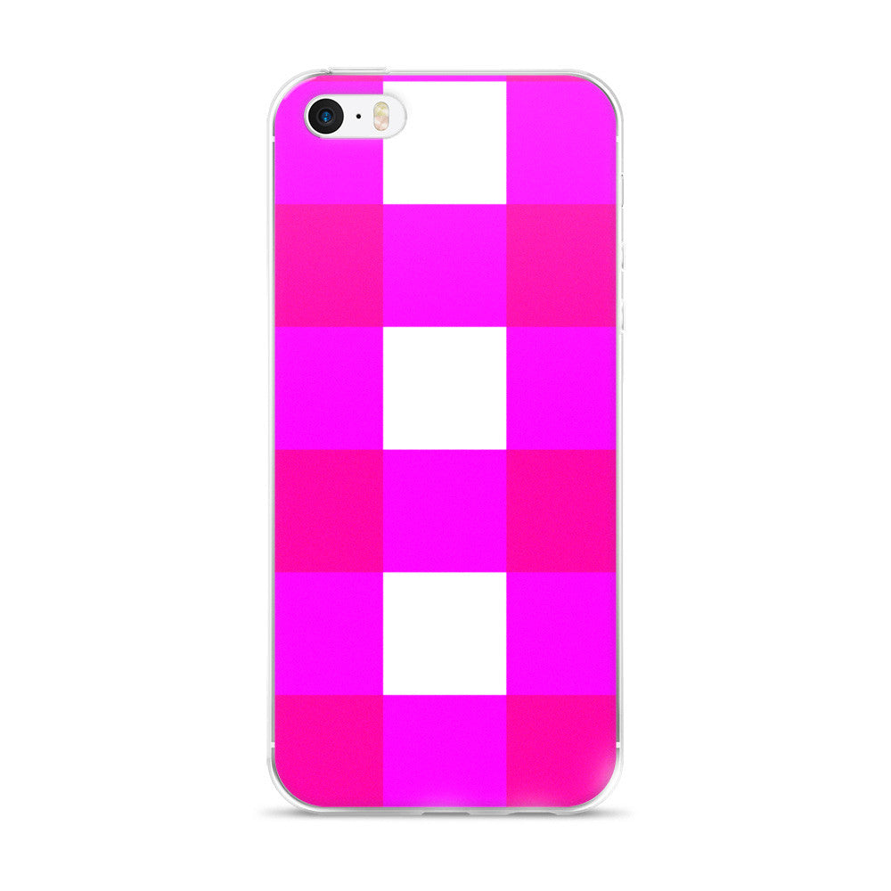 Pink White Large Gingham Design iPhone 5/5s/Se, 6/6s, 6/6s Plus Case