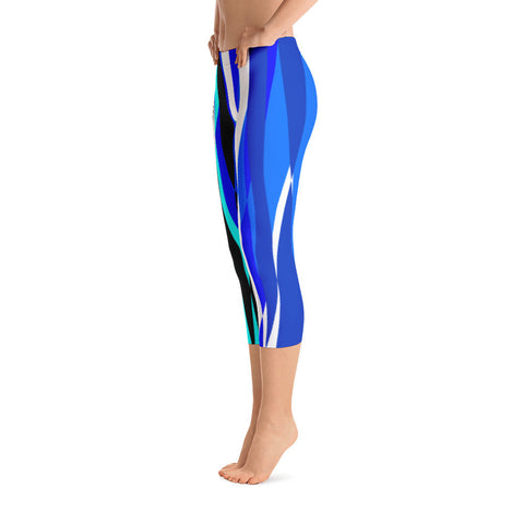 Kathy Blue Teal White Black Capri Leggings