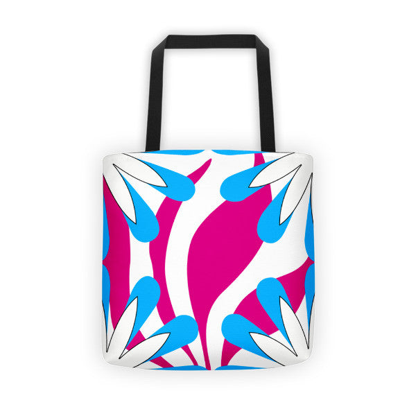 pink blue tote bag