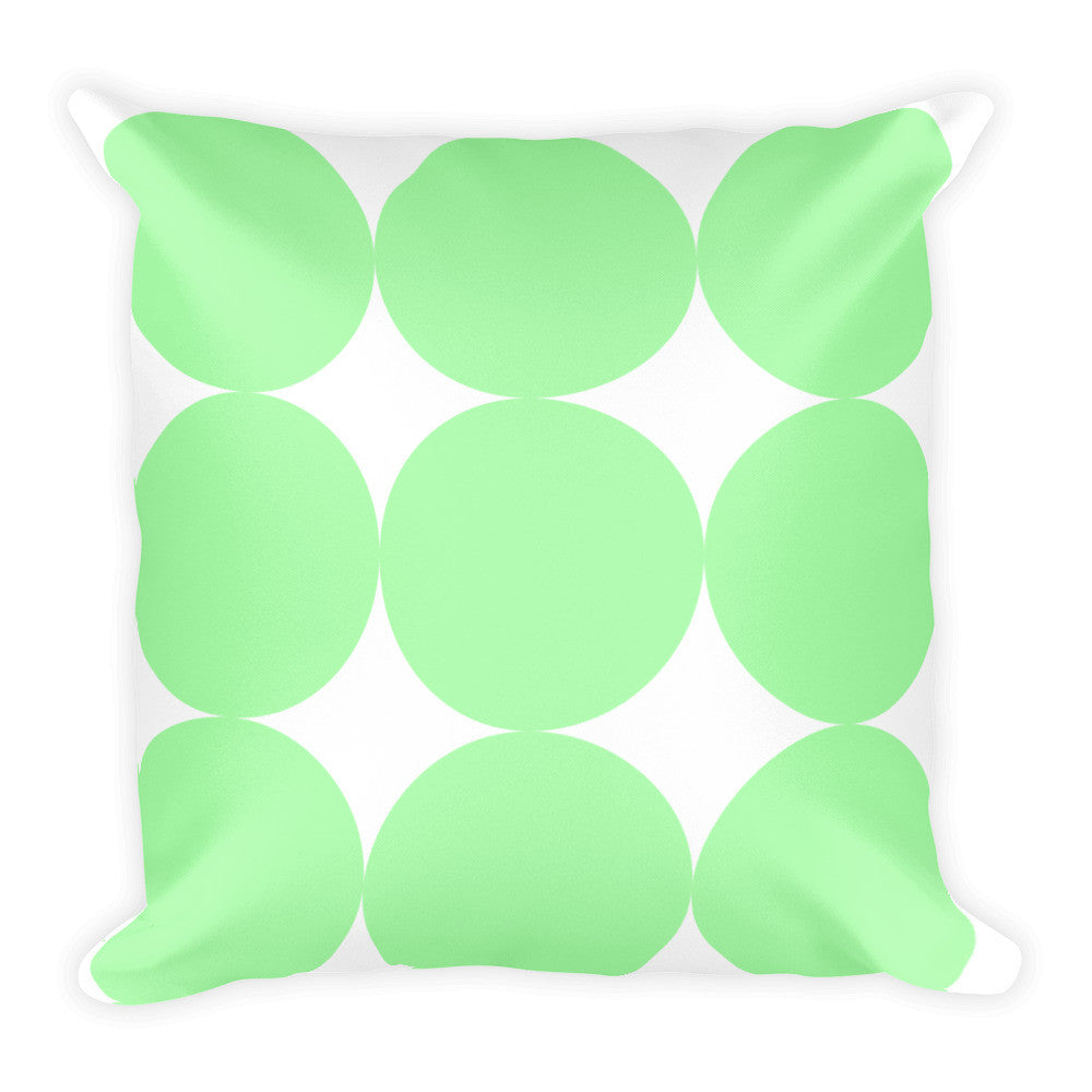 Green Dots Throw Pillow