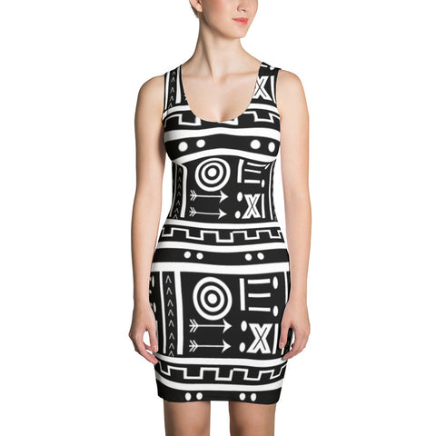 black white dress, bogolan inspired dress
