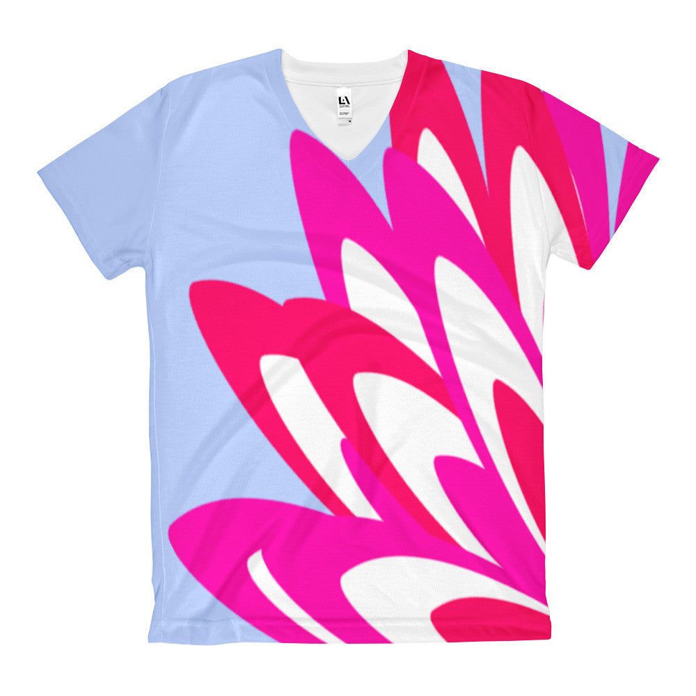 Cece Blue Pink White Women's V-Neck T-Shirt