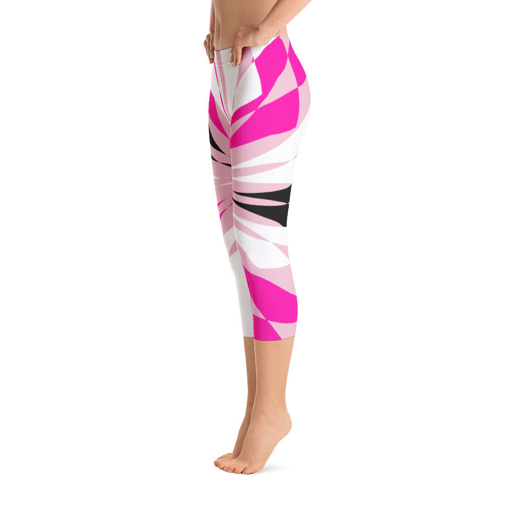 Clara Pink White Black Capri Leggings