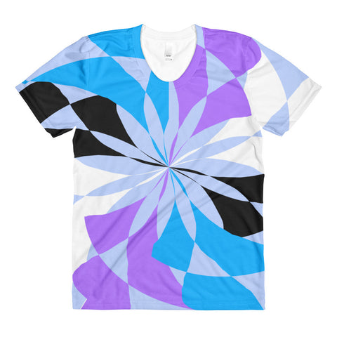 Lilia Black White Blue Purple Women's Crew Neck T-shirt
