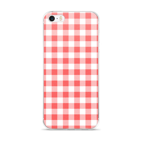 Coral Peach White Gingham Design iPhone 5/5s/Se, 6/6s, 6/6s Plus Case