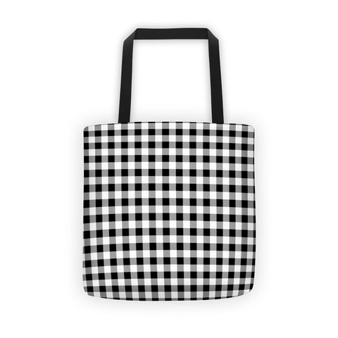 Black White Gray Gingham Tote bag
