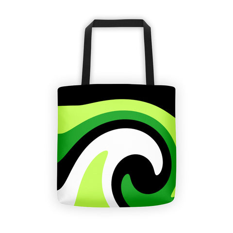 green white canvas tote bag
