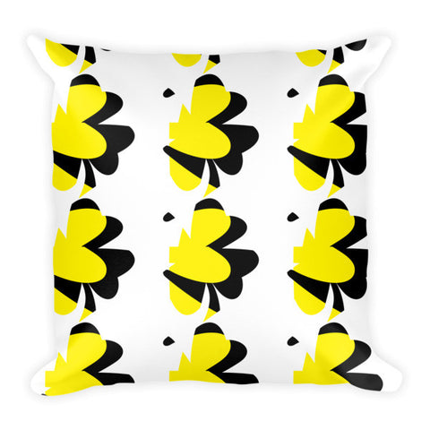 yellow black and white throw pillow