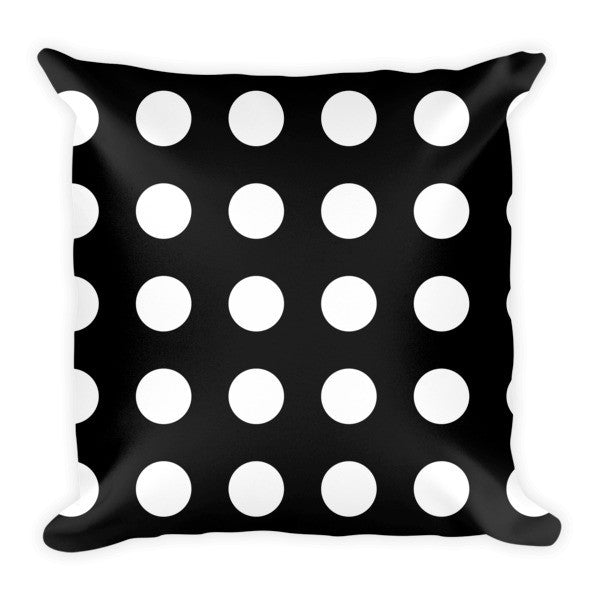 Black white polka dots throw pillows