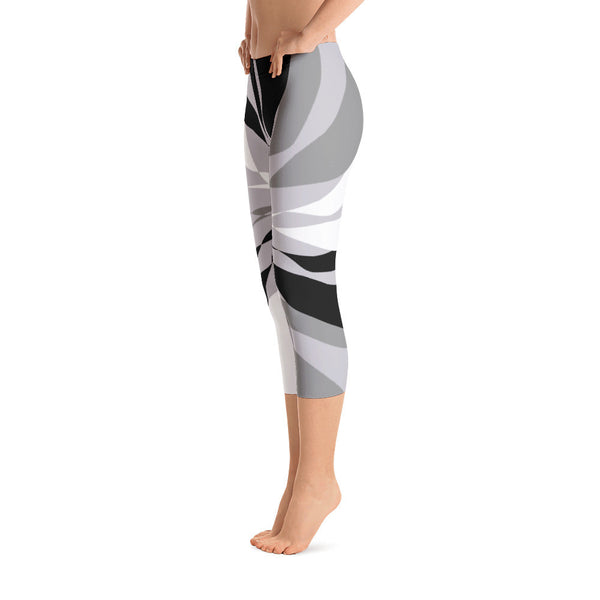Lana Black White Gray Capri Leggings