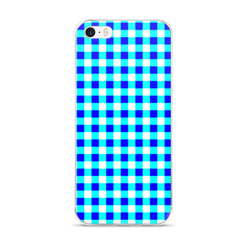 Blue Teal White Gingham Design iPhone 5/5s/Se, 6/6s, 6/6s Plus Case