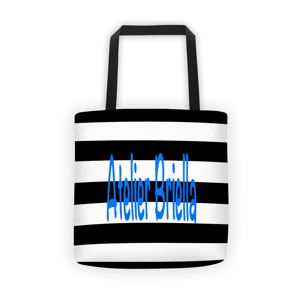 black white canvas tote bag