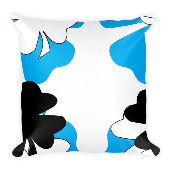 blue white black throw pillow