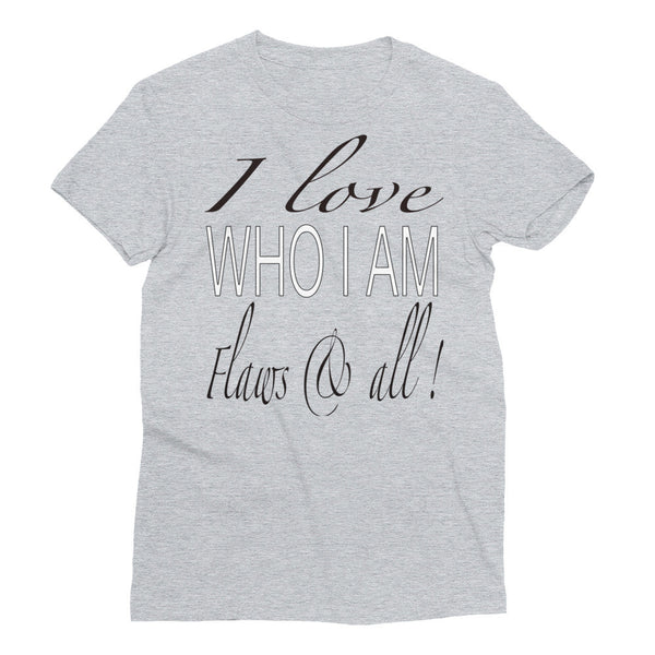 White Gray Women's Short Sleeve Statement T-Shirt: I love Who I am
