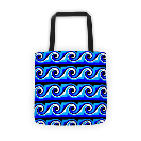 blue white black canvas tote bag