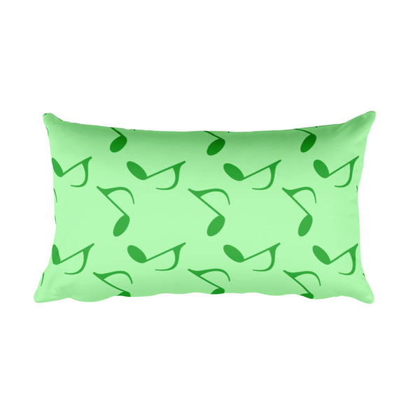 Mint Green Music Notes Rectangular Pillow