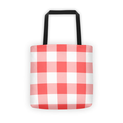 Coral White Gingham Tote bag